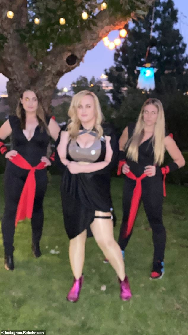 Introducing, the Nun-chicks! Rebel later uploaded a video of herself dancing alongside her sister Annachi (L), Marissa Montgomery, stuntwoman Meredith Richardson (R)