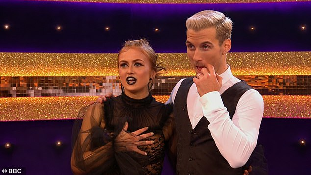 In the lead:Earlier in the evening, Maisie put on a sizzling display on the dance floor as she strutted to Midnight Sky by Miley Cyrus , bagging herself 25 out of 30 possible points