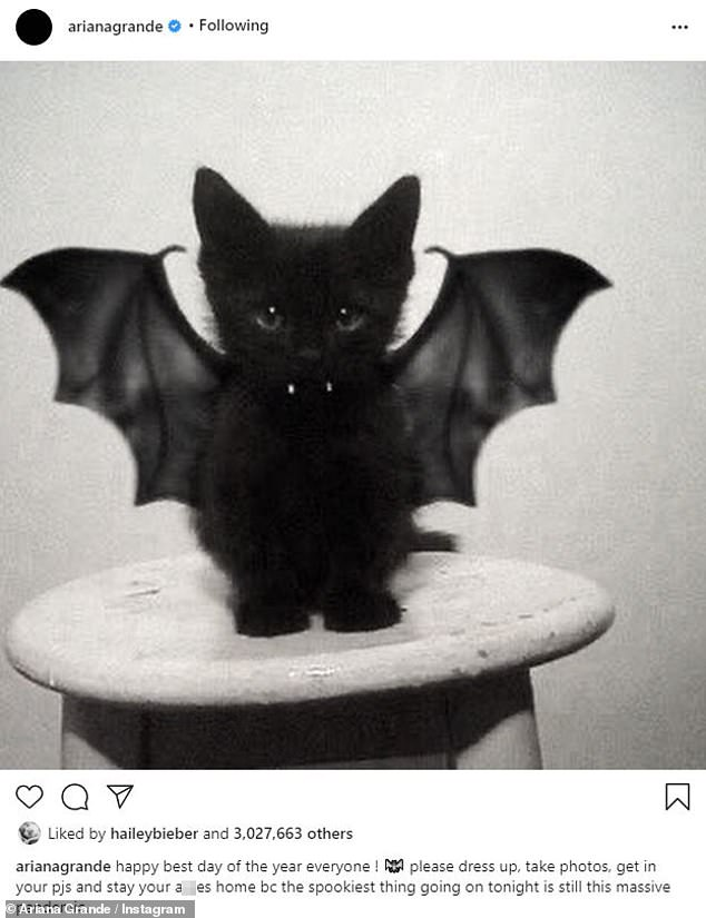 Spooky season: The 27-year-old took to Instagram with a cute photo of a black kitten with bat wings, accompanied by an important note to her 205million followers