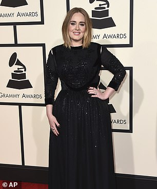 The way she was: Adele pictured at the Grammy Awards in 2016