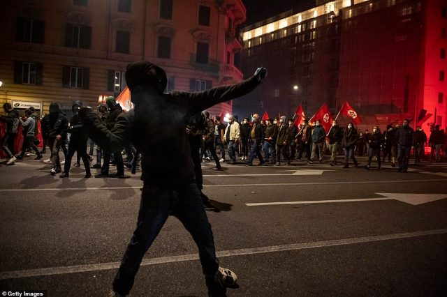 Newspaper Lamorgese said the demonstrators included young people with criminal records, football hooligans and extreme-right activists who 'find an opportunity to exploit legitimate demonstrations