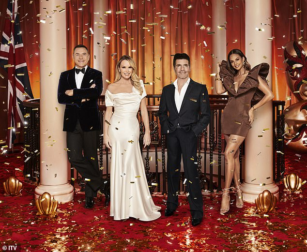 He's ready: After months recovering at his LA home, Simon has given producers a guarantee of his comeback and is apparently 'raring to go' (pictured with BGT judges David Walliams, Amanda Holden and Alesha Dixon)