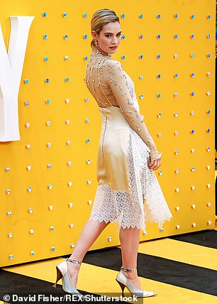 Lily James's (pictured) next screen role involves no romantic interest as she will play Peggy Jo Tallas, a Texan outlaw who held up a string of banks in the 1990s – dressed as a man