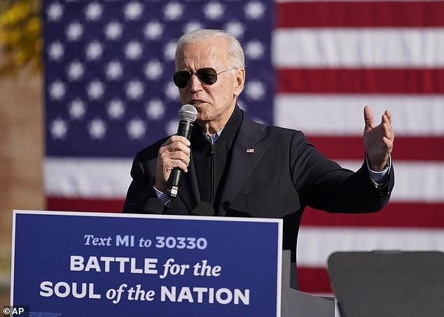 Thanks to Barack: Joe Biden paid tribute to his former boss as he spoke in Flint