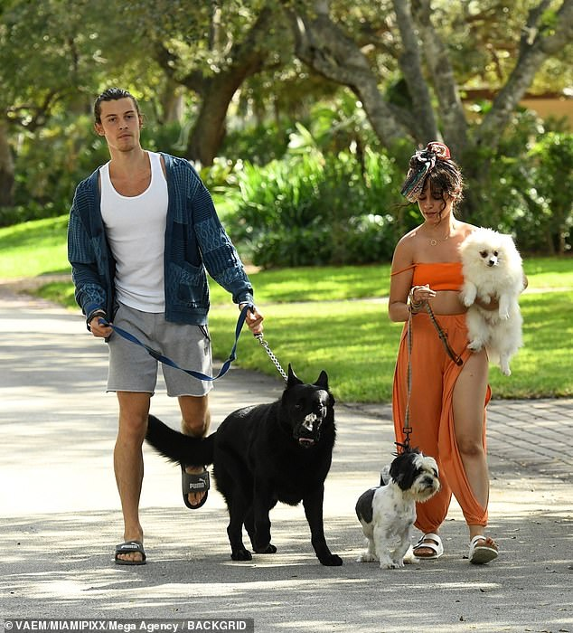 Ruff:The Wonder singer walked Camila's black German Shepherd Thunder while she took care of her Shih Tzu Leo
