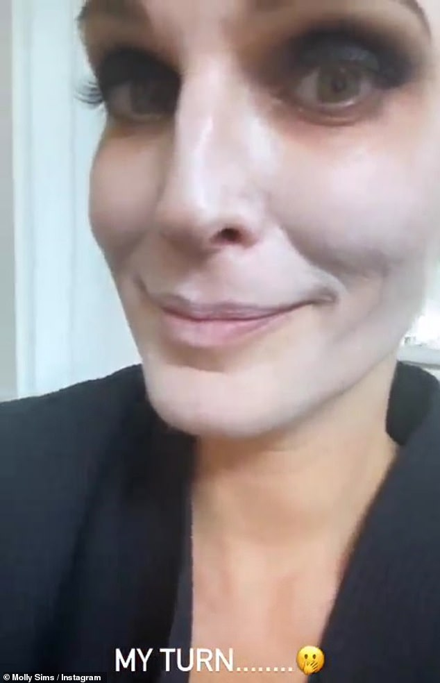 Makeup time: The Sports Illustrated Swimsuit model also posted a quick clip from the makeup chair to her Insta Story, as she got her ghostly glam done