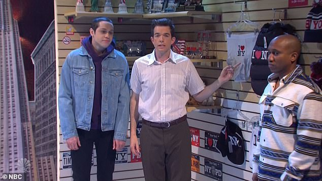 Odd: Mulaney returned in the second half of the show as the owner of a souvenir shop in Times Square, with Pete and Chris playing shoppers. Pete wanted to buy 'I [Heart] NY' underwear