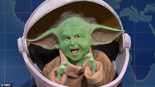 Surprise! Baby Yoda (Kyle Mooney) made an unscheduled appearance during Weekend Update to capitalize on the return of the hit Disney+ Star Wars series The Mandalorian