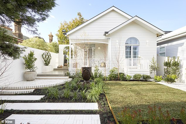 Criticism: While judge Shaynna Blaze loved the white colour palette for Harry and Tash's facade (pictured), she found the garden to be too busy and in need of scaling back