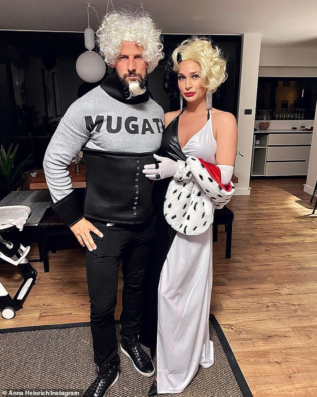Reality TV royalty: Heavily pregnant Anna Heinrich, 33, went as Cruella de Vil, while husband Tim Robards, 37, went as Mugatu, Zoolander's main nemesis, played by Will Ferrell in the 2001 Zoolander film
