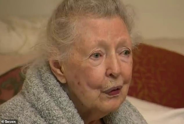 Shocked resident Marie, 90, (pictured) saw the jeep plummet 10 metres into her backyard