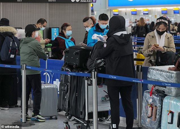 All outbound international travel will be banned (pictured: Passengers at Heathrow today), except for a small number of circumstances, as part of the new rules revealed last night by Prime Minister Boris Johnson