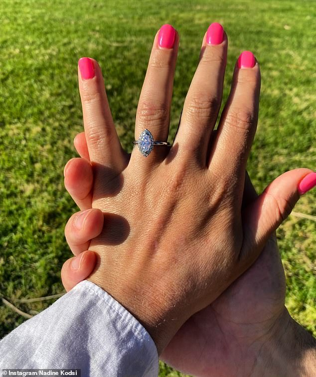 Prized bling: The one-time reality star also treated fans to a close-up of her sizeable marquise cut diamond engagement ring