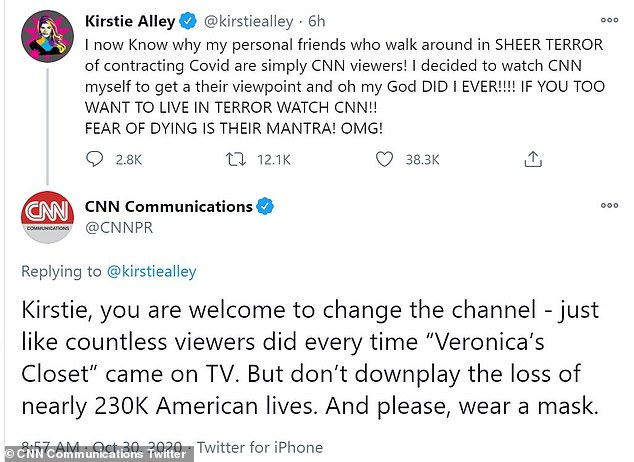 On Friday, Alley and the network got into a heated Twitter exchange after she accused CNN of causing people to 'live in terror' as a result of their coverage of the global health crisis