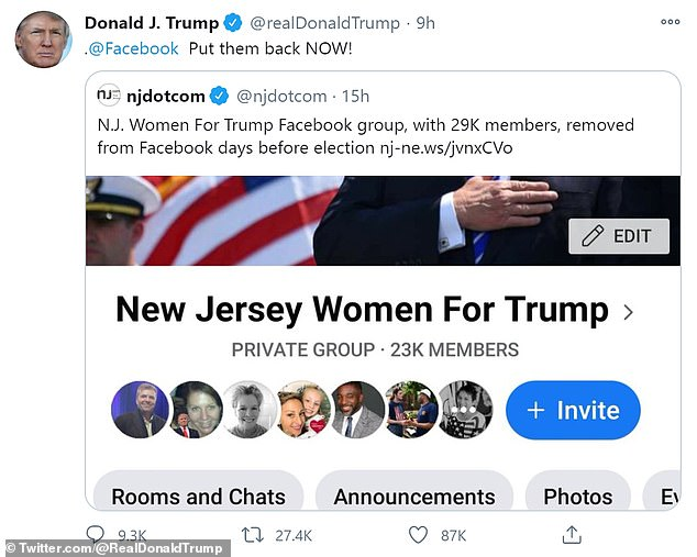 The private group was taken down without explanation, according to directors;'@Facebook Put them back NOW!', the president tweeted early Sunday morning