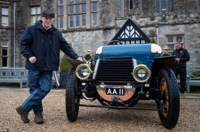 Driving into the grounds and keeping socially distanced, the petrolheads - which included Beaulieu owner Lord Montagu (pictured) - showcased their veteran vehicles from over 100 years ago