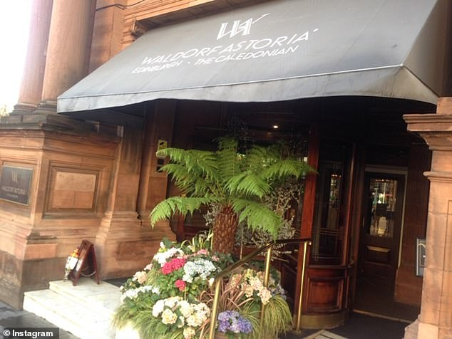 Fans: Outside Connery's well loved Caledonian hotel in Edinburgh, a well wisher left a bouquet of flowers