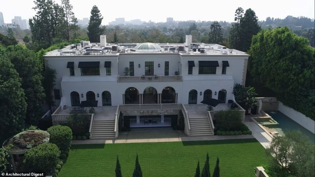 A grandiose six-bedroom home called Villa 330, located just two doors down from the Playboy mansion in Los Angeles, is on the market for $69.95million