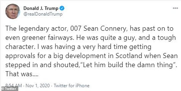 In 2018 Trump told then British Prime Minister Theresa May: 'I met James Bond and I got all my approvals. James Bond was better than my approvals lawyer'
