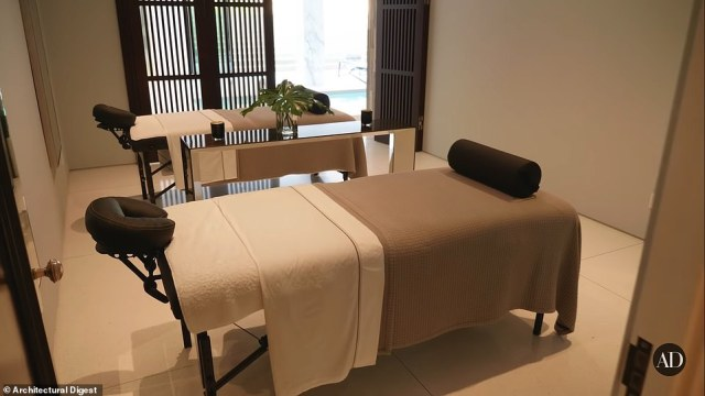 The home includes a wellness center with a beauty salon and a spa with massage tables