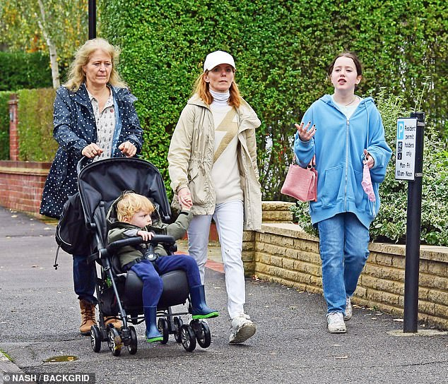 Family:The singer, 48, was joined on the outing by her daughter Bluebell, 14, and her son Montague, three, along with a female pal