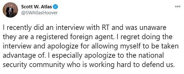 Atlas, close advisor to Donald Trump, said he 'regretted' interview and was unaware RT was backed by the Kremlin and a 'registered foreign agent'