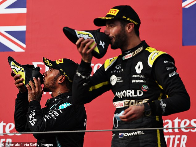 Hamilton winced in disgust as he joined Ricciardo in his podium tradition on Sunday. Later he said the drink taste was like