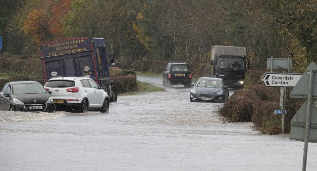 In North Yorkshire, firefighters used boats to rescue nine people who had tried to drive through floodwater before becoming stranded. Pictured: The scenes of flooding in North Yorkshire