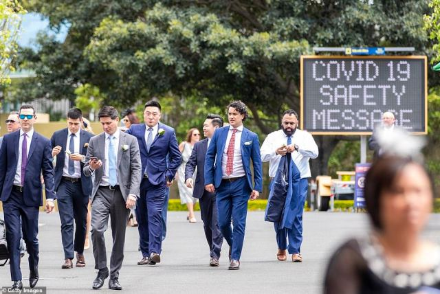 Sydneysiders (pictured) donned their best formal attire to celebrate the famous Melbourne race from eastern Sydney