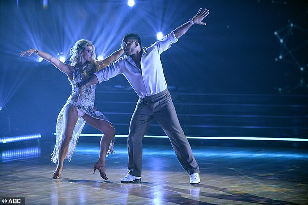 Rumba routine: Nelly and partner Daniella Karagach, 28, got just 21 points for their rumba to The Tony Rich Project's Nobody Know