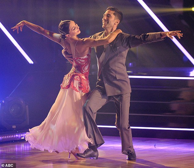 Viennese waltz: Nev Schulman and Jenna Johnson, 26, danced a Viennese waltz to Arianna Grande and Justin Bieber's Stuck With You