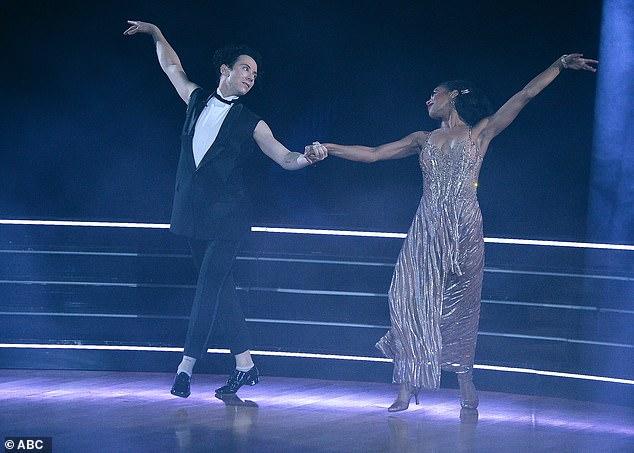 Foxtrot dance:Johnny Weir and Britt Stewart, 31, did a foxtrot to the Sean Mendes song Wonder