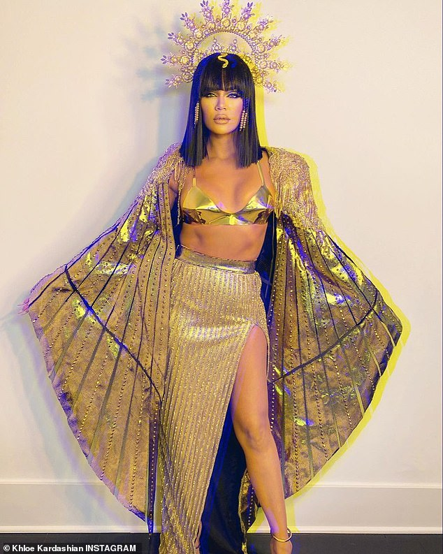 Queen for a day:The photos shared with Kardashian's 122million followers showed the stunner dressed as the queen of Egypt, Cleopatra
