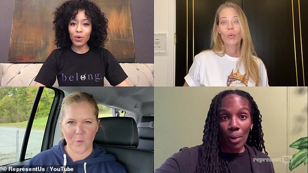 Celebrity endorsement: A few famous faces were also sprinkled around the video including Amy Schumer, bottom left, and Jeri Ryan, upper right