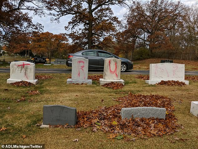 The Ahavas Achim Cemetery was tagged by vandals on Monday in Grand Rapids, Michigan