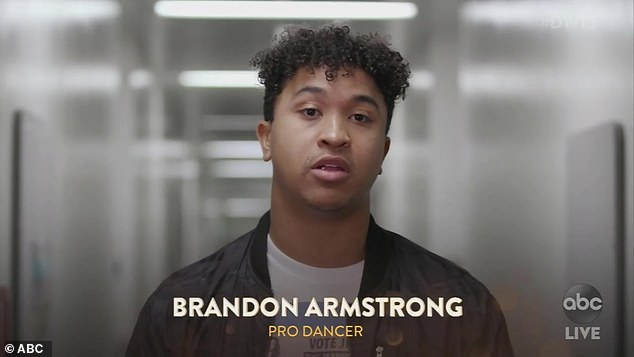 Pro partner: Jeannie's partner, Brandon Armstrong, 26, was sanguine about what happened, saying only that he was glad Jeannie was okay