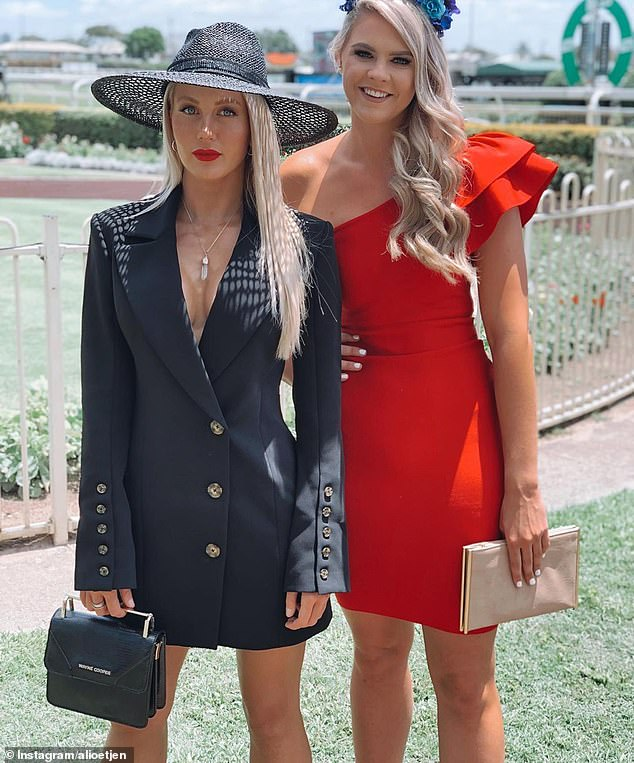 'I'm so disappointed!' Ali Oetjen (left) has faced backlash from animal rights activists for supporting the Melbourne Cup horse race. Pictured withShayna Jack