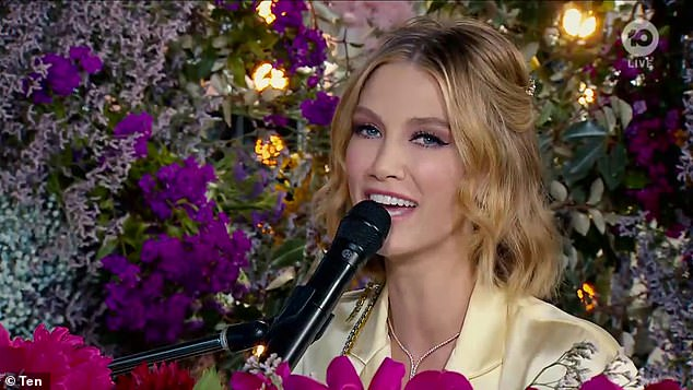 Sing it: The singer belted out her latest track Solid Gold live on Channel 10
