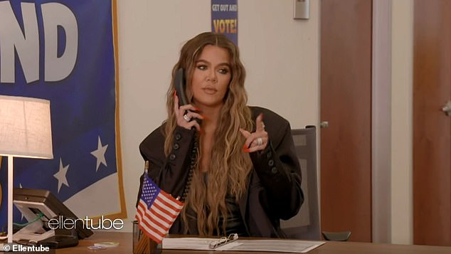 Khloe votes: Khloe Kardashian helped kid presidential expert Macey Hensley encourage fans to vote on Ellen