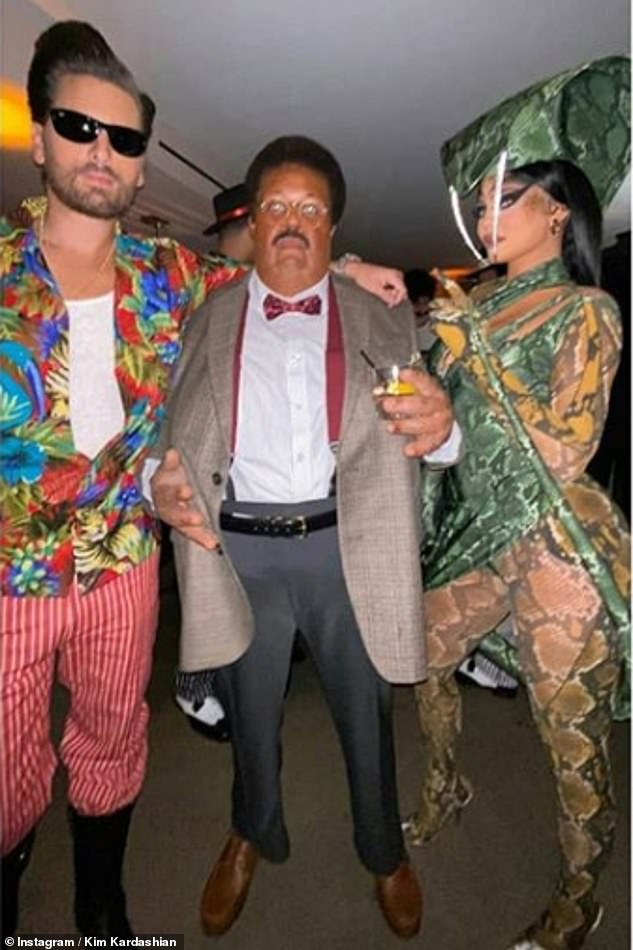 Dressed to impress: Make-up mogul Kylie pictured with Scott Disick and The Weeknd as Nutty Professor