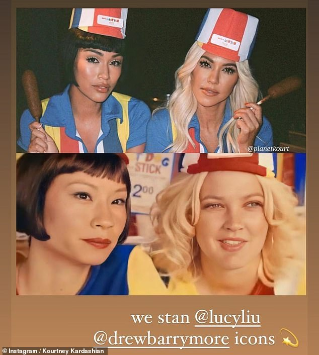 Retro lewk: Kourtney Kardashian and her pal Stephanie Shepherd transformed into Charlie's Angels stars Lucy Liu and Drew Barrymore for the event