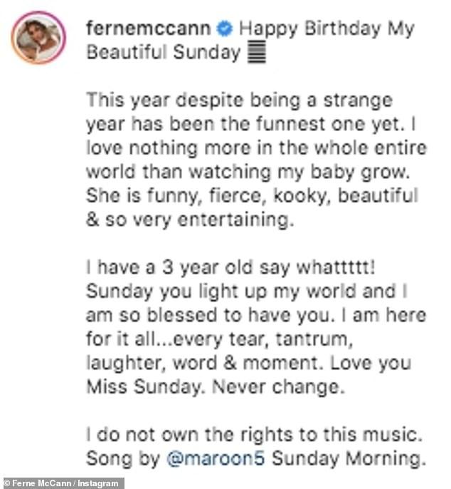 Doting mum: Ferne wrote: 'Happy Birthday My Beautiful Sunday'