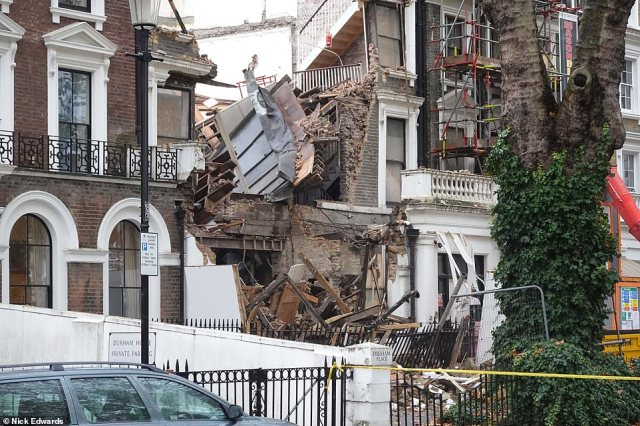Met Police said they received reports the buildings had collapsed last night and crews have been working to secure the scene