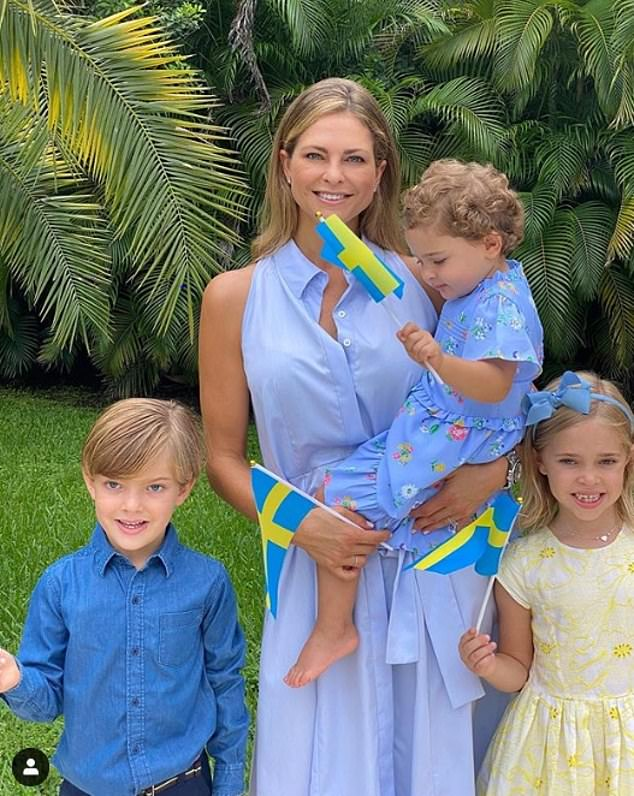 Madeleine has been much of lockdown at her home in Miami, Florida , with her husband Christopher O'Neill and their children (pictured, celebrating Sweden's National Day in the summer)