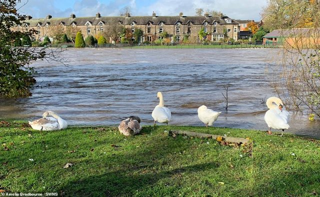The scene in the market town of Otley where the River Wharfe has burst its banks. November 2. Multiple urgent flood warnings have been issued after the River Wharfe burst in Otley, near Leeds, West Yorkshire, leaving a trail of chaos
