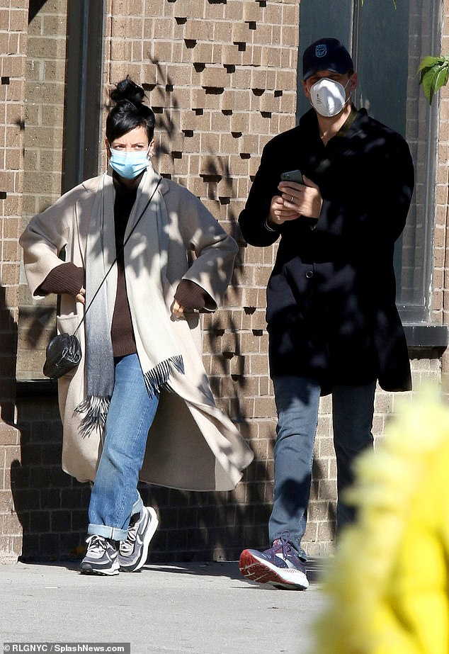 Low-key: Lily Allen and her husband David Harbour continued to enjoy quality time together as they embarked on a stroll in New York City's Soho district on Monday