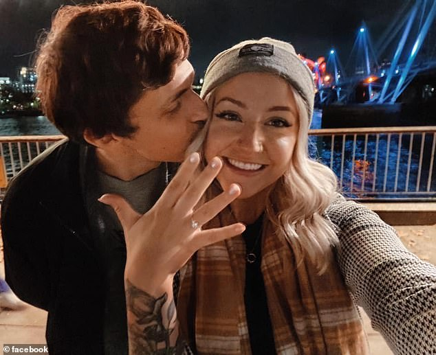A year after they first spoke, Adam popped the question to Anna who moved to London from the US when the pandemic hit. Pictured, the happy couple after Adam proposed