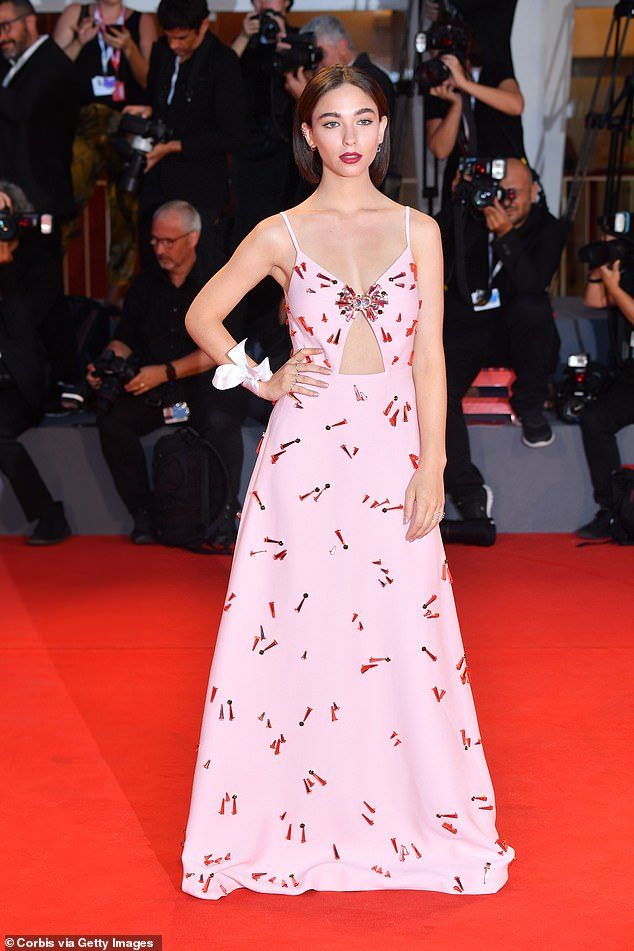 Breakout role: Italian actress Matilda de Angelis stars opposite Hugh Grant and Nicole Kidman in The Undoing. It marks her first US production and her first English-speaking role. Pictured, Matilda cuts an elegant figure in a sherbet pink gown at the 2018 Venice Film Festival