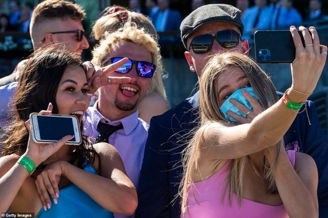 The Melbourne Cup may look a little different this year thanks to COVID-19 restrictions but it didn't take long for revellers to get into the party spirit at the event