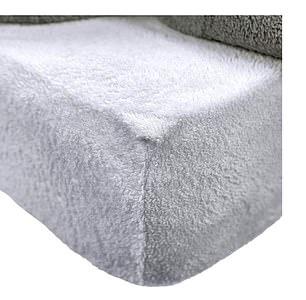 Brentfords Teddy Fleece Fitted Bed Sheet in Grey Silver